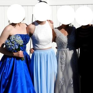 2 Piece Prom Dress Crop Top